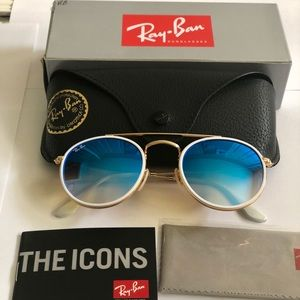Ray Ban 3647 Blue Gradient Gold round frame UNISEX